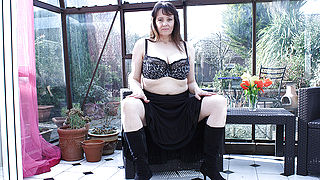 Big breasted British housewife masturbating in her gardenhouse