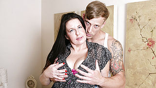 Horny British housewife fucking her toy boy