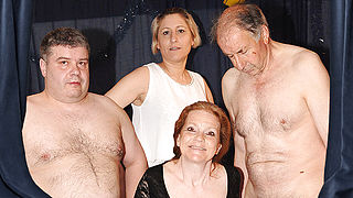 Horny German mature gangbang