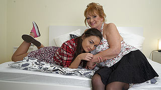 Horny grandma and teen girlfriend in heat