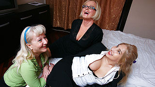 Three naughty housewives licking pussy