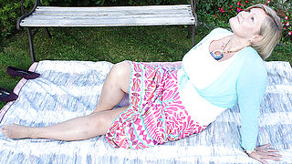 Hot British housewife having sex outdoors
