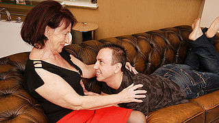 Horny granny gets fucked by her toyboy