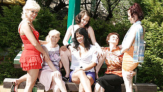 Six horny old and young lesbians have a dirty wet picnic