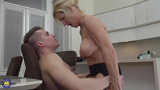 Busty mature moms suck and fuck lucky sons