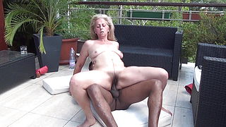 Fucked grandma on the balcony