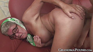 Insatiable grandma receives young dick and cum in mouth
