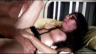 Kinky old spunker in sexy lingerie loves to fuck amp; eat cum