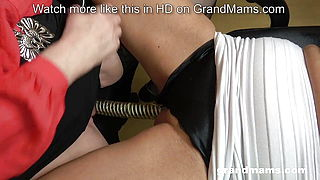 2 lesbian grannies share double dildo and eat young pussy
