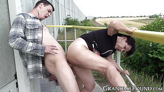 Lusty older woman dicked down and facialized outdoors