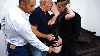 Naughty cougar getting a DP while doing three guys