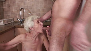 Viviana amp; Dieter skinny hairy granny in kitchen with Dieter