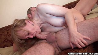 Moms old body craves toy boys cum
