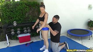 Busty sporty milf seduced to fuck by trainer