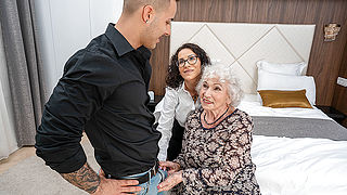 Horny grandma and kinky young couple in naughty threesome