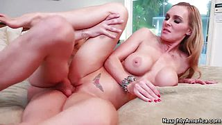 Kris Slater is cussing out his tight fake boobed girlfriend Tanya Tate and cleaning her asshole with his tongue