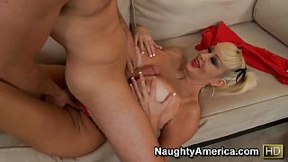 Lickerous hot blonde Brittany ONeil pampering her huge melons