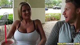 Hot MILF blonde enjoying massage from a stranger