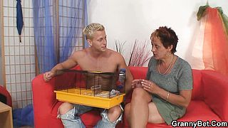 Granny rides her neighbours cock