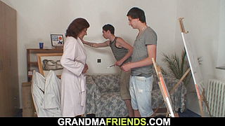 Old redhead granny and boys teen threesome