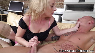 Stockinged granny works hard to make big young dick cum