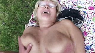 Blonde granny gets nailed outside
