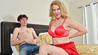 Blonde MILF Lacy B Cummings enjoys the big cock of her sons best friend