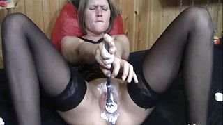 Extreme double fist fucked blond MILF