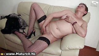 Horny busty older mom enjoys climaxing part6