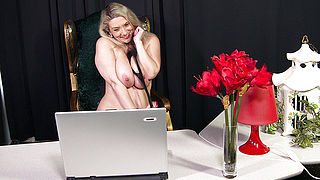 Horny German housewife masturbating in front of the webcam