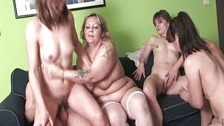 Mature orgy with brunette babe getting cunt banged