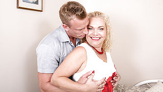 Naughty British housewife sucking and riding a hard cock