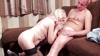 Sexy mature takes cock in mouth and cunt