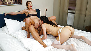 Sexy Milf and hot mom are fucked hard by their stud in threesome