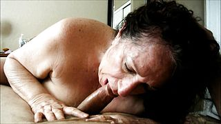 Brunette granny devouring a cock she just met