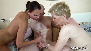 Grannys monster dildo with young lady