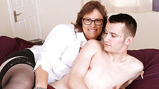 Horny British housewife playing with her toyboy