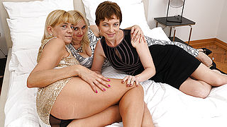 Three naughty lesbian housewives lick eachothers pussy